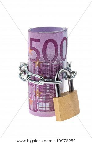 Euro bank note concludes with a chain