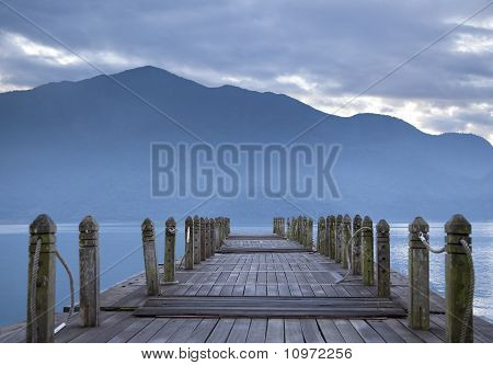 look on pier and mountain in the morning