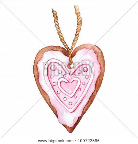 Heart shaped ginger biscuit isolated