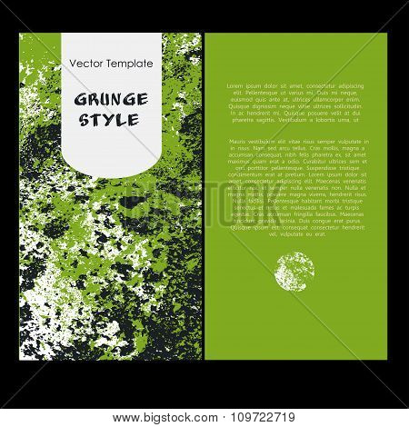 Green Grunge Vector Template.