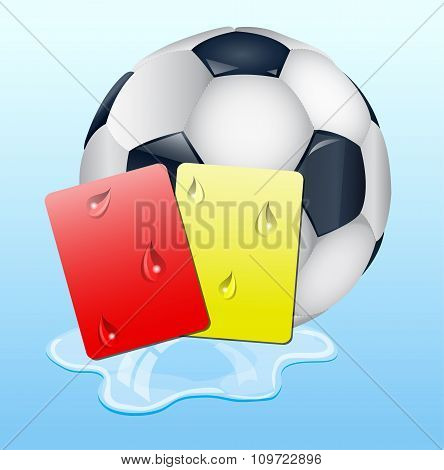 Warning And Ban Cards With Ball.