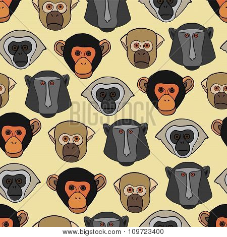 Seamless pattern with cute faces of monkeys.