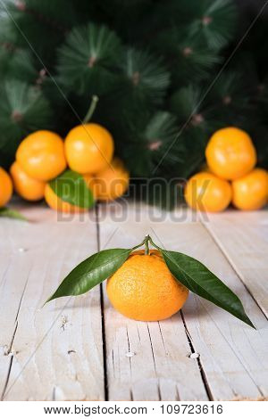 Fresh mandarines with leaves