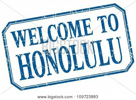 Honolulu - Welcome Blue Vintage Isolated Label