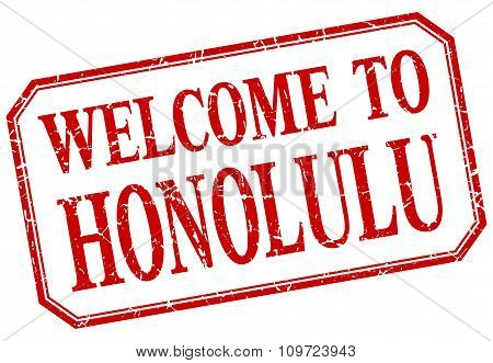 Honolulu - Welcome Red Vintage Isolated Label