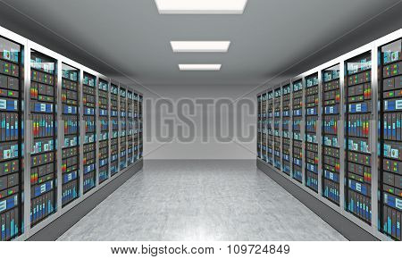 3D Rendering Of Server For Data Storage, Processing And Analysis, Two Rows Of Machines At Work With