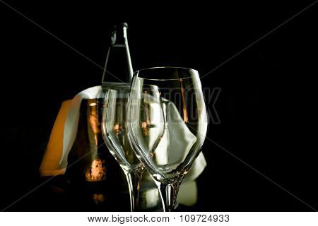 Two Empty Wine Glasses And Ice Bucket