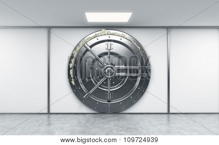 3D Rendering Of A Big Locked Round Metal Safe In A Bank Depository With Dollars Stuck Out From Behin