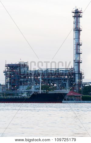 Oil refinery plant waterfront