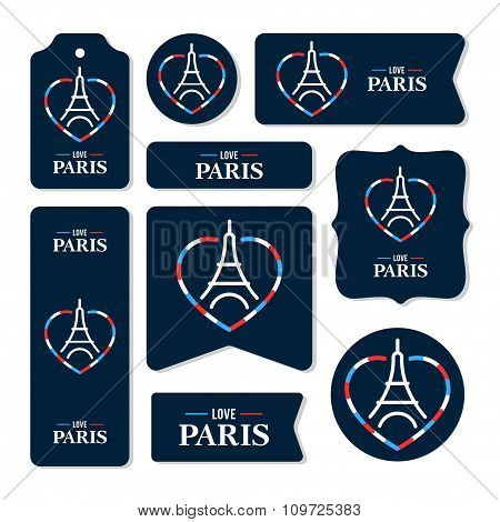 Collection Of Eiffel Tower Cards, Notes, Stickers, Labels, Tags With Cute Ornament Illustrations. Te