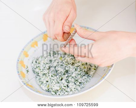 Grating Nutmeg Dough With Ricotta