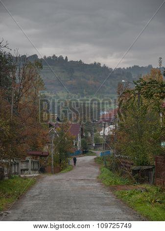 Walking Through Romanian Village