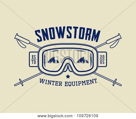 Vintage Winter Sport Or Winter Equipment Logo, Emblem, Badge, Label And Watermark With Mask