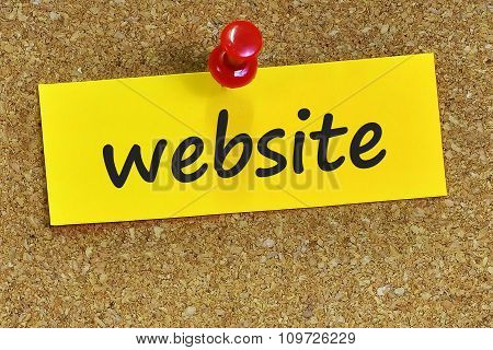 Website Word On Yellow Notepaper With Cork Background