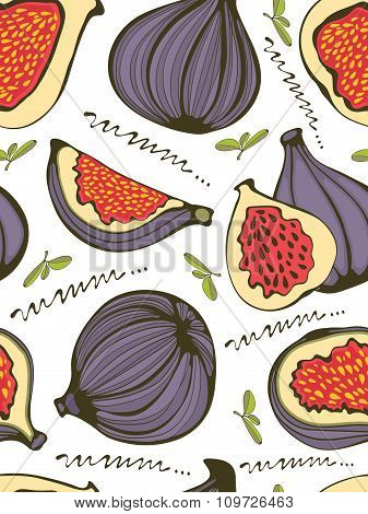 Colorful seamless pattern with figs