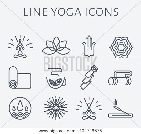 Set of 12 line Yoga icons.