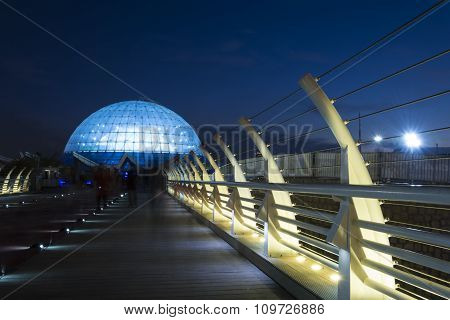 Wide View Of Middle East's Largest Planetarium, Mina Dome In Dusk Time At  Water And Fire Park, Tehr