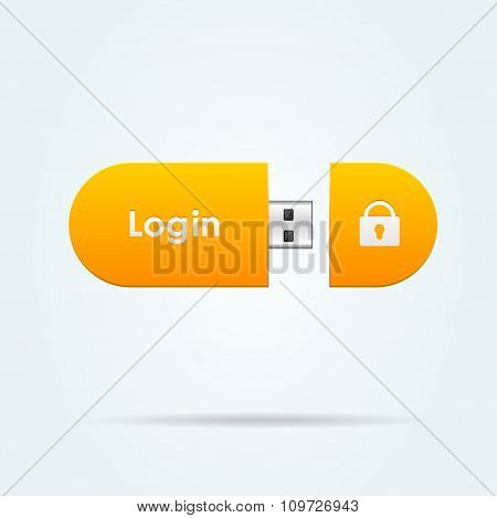 Login sign button. Vector illustration