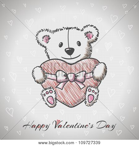 Sketch Style Hand Drawn Bear With Heart