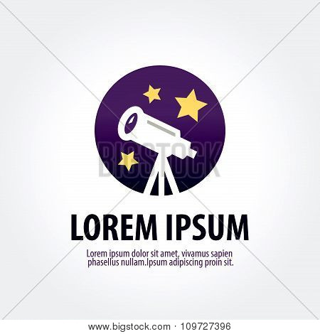astronomy vector logo design template. telescope or horoscope icon