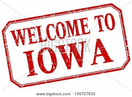 Iowa - Welcome Red Vintage Isolated Label
