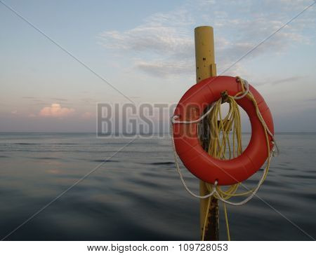 Life Preserver At Sunset