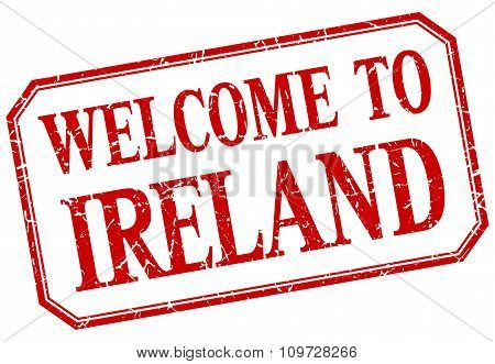 Ireland - Welcome Red Vintage Isolated Label