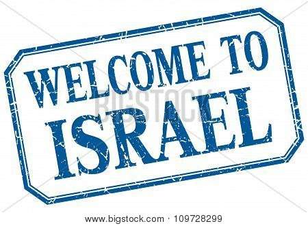 Israel - Welcome Blue Vintage Isolated Label