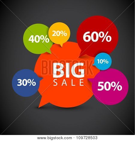Speech bubble pointer for sale item - various percentage discount - dark version