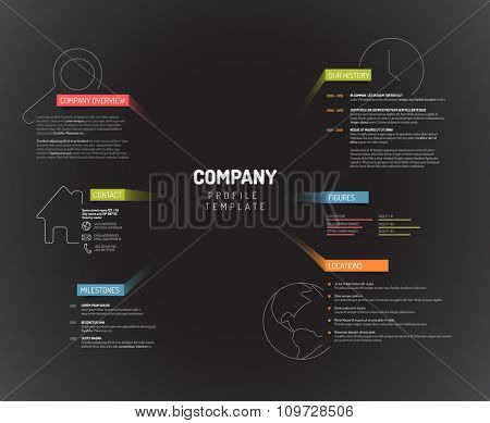 Vector Company infographic overview design template with colorful labels - dark version