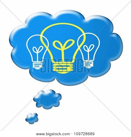 Cloud thought with a bright colored light bulb