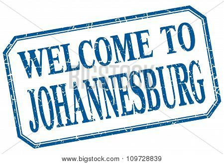 Johannesburg - Welcome Blue Vintage Isolated Label