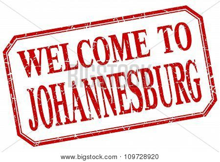 Johannesburg - Welcome Red Vintage Isolated Label