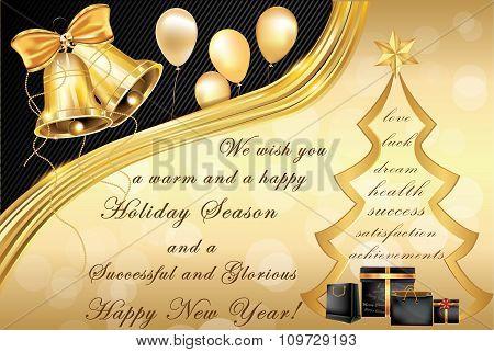 Elegant corporate Winter Holidays greeting card