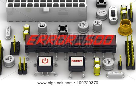 ERROR 500 (Internal server error). The message on the display of the electronic circuit board