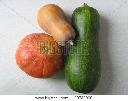 Pumpkins of various colors on the table