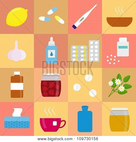 Set of colorful flat icons for flu and cold treatment.