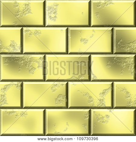 Wall of gold bullion. 3d rendered golden wall background.