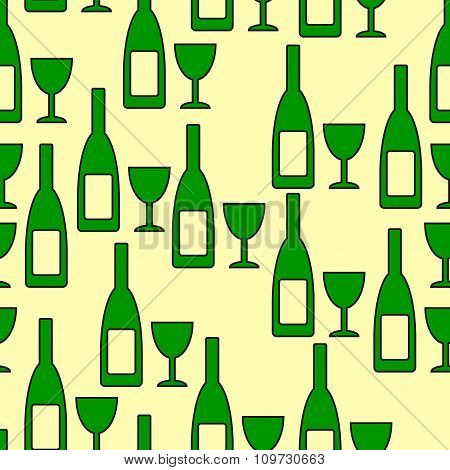 Bottle And Glasse Seamless Pattern.