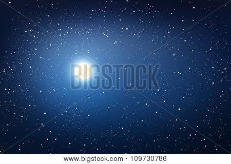 Starry sky with the moon. Dark blue.
