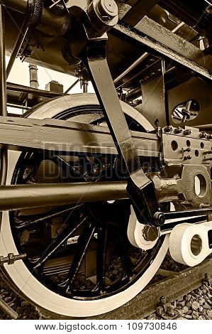 Sepia Detail And Close Up Of Huge Wheels At One Old Steam Locomotive 8