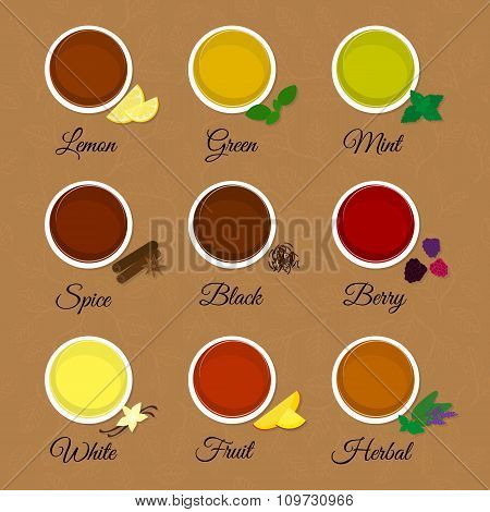 Tea menu on textured background with leaves.