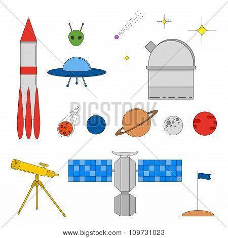 Set of colorful space and astronomy linear icons.