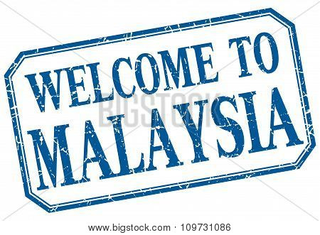 Malaysia - Welcome Blue Vintage Isolated Label