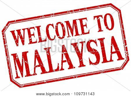 Malaysia - Welcome Red Vintage Isolated Label