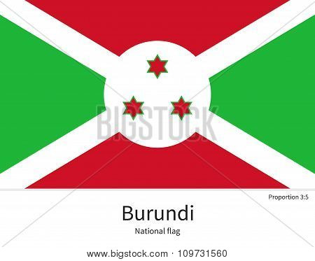 National flag of Burundi with correct proportions, element, colors