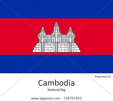 National flag of Cambodia with correct proportions, element, colors