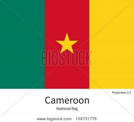 National flag of Cameroon with correct proportions, element, colors