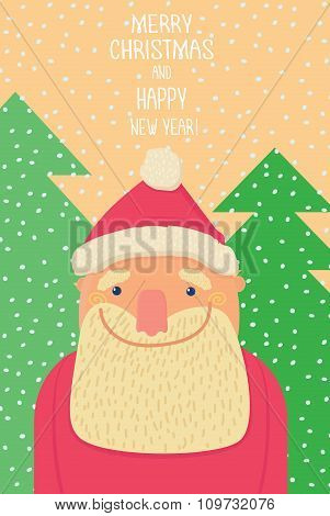 Santa Claus smiling background of christmastrees