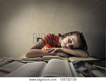 Fallen asleep on books